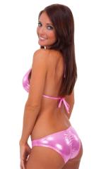 Womens Low Cut Runched Bikini Bottom in Metallic Mystique Bubblegum 3