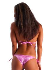 Brazilian Triangle Swim Top in Metallic Mystique Bubblegum-Pink 3
