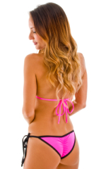 Cheeky Scrunchie Banded Side Tie Bikini Bottom in Hot Pink and Black 3