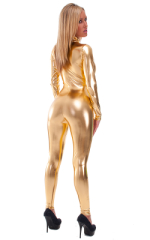 Front Zipper Catsuit-Bodysuit in Liquid Gold 4