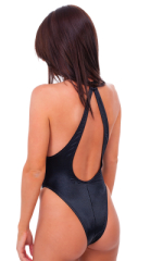 Plunging Neckline One Piece Tanga  in Wet Look Black ( UNLINED) 3