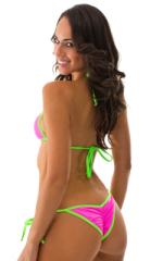Womens Banded Brazilian Bikini Top in Neon Pink and Neon Lime 5