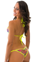 Cheeky Scrunchie Banded Side Tie Bikini Bottom in ThinSKINZ Neon Dali and Chartreuse 2