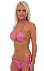 Micro G String Side Tie Bikini Bottom in Wet Look Hot Pink 1