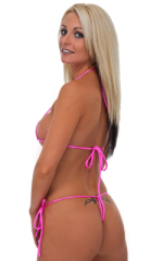 Womens Micro Triangle Swimsuit Top in Wet Look Hot Pink 3