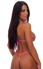 Womens Micro Triangle Swimsuit Top in Neon Pink 3