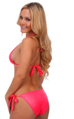Womens Shaped Triangle Swimtop in Wet Look Coral 3