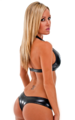 Womens Palm Beach Halter Swim Top  in Gloss Black Vinyl 5