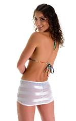 Micro Mini Skirt in Semi Sheer White Satin Stripe and Mesh 2