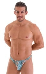 T Back Thong Swimsuit in Super ThinSkinz Aqua Python 5