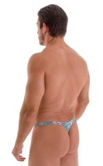 T Back Thong Swimsuit in ThinSkinz Aqua Python 3