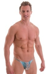 Sunseeker2 Tanning Swimsuit in Super ThinSKINZ Aqua Python - Aqua Python Mesh back 1