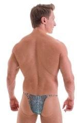 Sunseeker2 Tanning Swimsuit in Aqua Python Print on Mesh 3