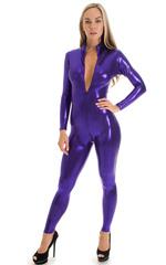 Front Zipper Catsuit-Bodysuit in Metallic Purple 1