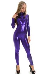 Front Zipper Catsuit-Bodysuit in Metallic Purple 4