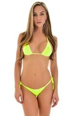 Low Rise Side Tie Brazilian Bikini Bottom in Chartreuse 1
