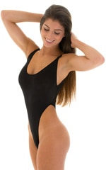 One Piece Thong Swimsuit in Super ThinSKINZ Black 4