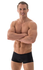 Extreme Low Square Cut Swim Trunks in Black 1