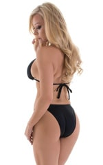 High Cut Brazilian Bikini Bottom in Black 3