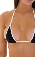 Color Blocked T Back Thong Bikini in Black Snakeskin & White 5