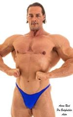 Bodybuilder Posing Suit - Narrow Back in Wet Look Royal Blue 4