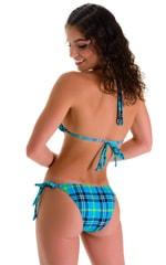 Low Rise Side Tie Brazilian Bikini Bottom in Aqua Plaid 2