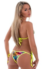 Banded Cheeky Swimsuit Bottom in Vapors with Chartreuse 3