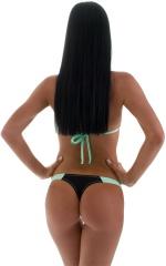 Color Blocked T Back Thong Bikini in Black Mint 5