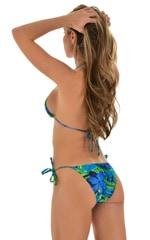 Low Rise Side Tie Brazilian Bikini Bottom in Tan Through Rainforest 3