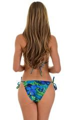 Low Rise Side Tie Brazilian Bikini Bottom in Tan Through Rainforest 5