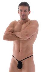 G String Swimsuit - Adjustable Pouch in Super ThinSKINZ Black 1