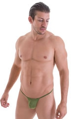 G String Swimsuit - Adjustable Pouch in ThinSKINZ Sage 5
