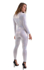 Front Zipper Catsuit-Bodysuit for Women in Holographic White 3
