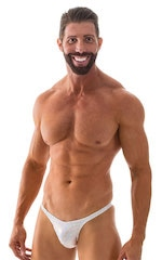Rio Tanning Bikini Swimsuit in White Silver Holographic 4