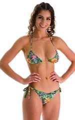 Low Rise Side Tie Brazilian Bikini Bottom in Super ThinSKINZ Exotic Tropics 2