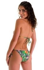 Low Rise Side Tie Brazilian Bikini Bottom in Super ThinSKINZ Exotic Tropics 1