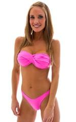 High Cut Scrunch Brazilian Bikini Bottom in Neon Pink Swimsuit Bottom 1
