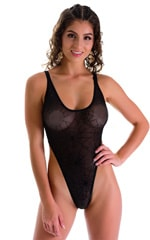 One Piece Thong in See Through Black Spiderweb Mesh 3