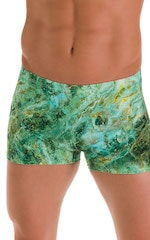Square Cut Seamless Swim Trunks in Jade Marble 4