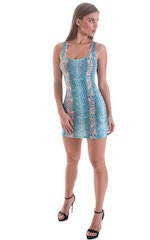 Micro Mini Dress in ThinSKINZ Aqua Python 5