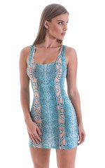 Micro Mini Dress in ThinSKINZ Aqua Python 1