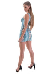 Micro Mini Dress in ThinSKINZ Aqua Python 3