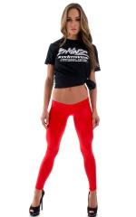 Womens Super Low Rise Leggings in Wet Look Red 1