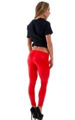 Womens Super Low Rise Leggings in Wet Look Red 3