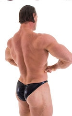 Posing Suit - Fitted Pouch - Puckered Back in Metallic Black 3