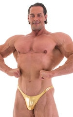 Posing Suit - Fitted Pouch - Puckered Back in Metallic Gold 5
