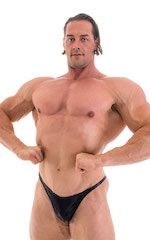 Bodybuilder Posing Suit - Narrow Back in Metallic Black 5