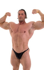 Bodybuilder Posing Suit - Narrow Back in Metallic Black 6