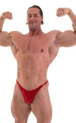 Bodybuilder Posing Suit - Narrow Back in Metallic Volcano Red 4