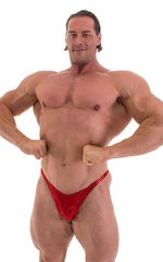 Bodybuilder Posing Suit - Narrow Back in Metallic Volcano Red 1